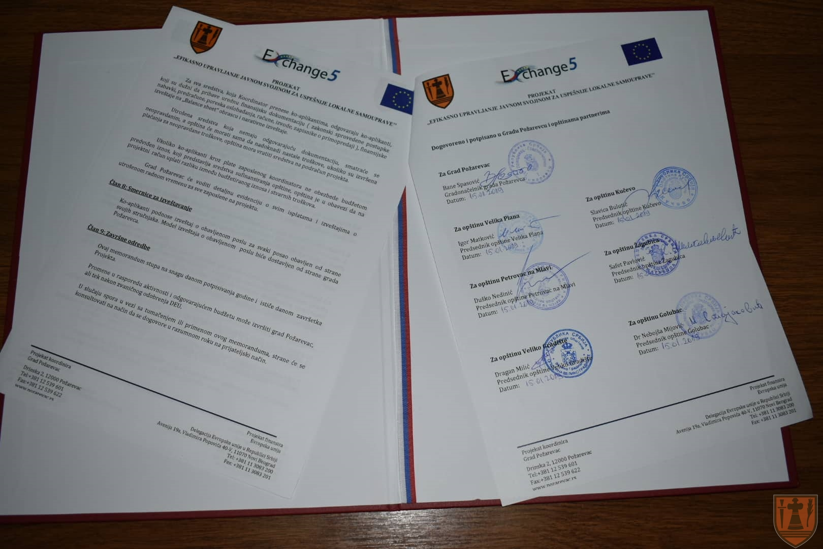 """Potpisani ugovori o saradnji u Požarevcu za program """"Exchange 5"""" 13857"""